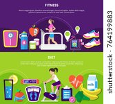 fitness horizontal banners with ... | Shutterstock .eps vector #764199883