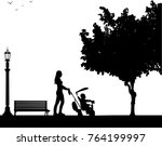 mother walking with her baby on ... | Shutterstock .eps vector #764199997