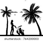mother walking with her baby on ...   Shutterstock .eps vector #764200003