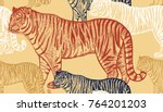 tiger. seamless pattern with... | Shutterstock .eps vector #764201203