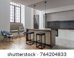 elegant kitchen with island ... | Shutterstock . vector #764204833