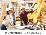 two female inspectors and... | Shutterstock . vector #764207683