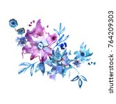 cute watercolor hand painted... | Shutterstock . vector #764209303