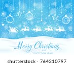 christmas blue snowy background ... | Shutterstock .eps vector #764210797
