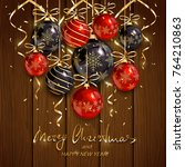 red and black christmas balls... | Shutterstock .eps vector #764210863