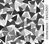 chaotic patterned triangles... | Shutterstock .eps vector #764215057