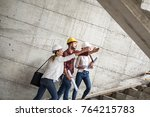 two female inspectors and... | Shutterstock . vector #764215783
