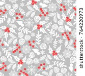 winter seamless  pattern with... | Shutterstock . vector #764220973