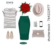 spring fashion set. stylish and ... | Shutterstock .eps vector #764222977