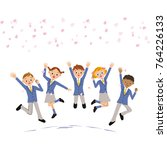 students jumping under cherry... | Shutterstock .eps vector #764226133