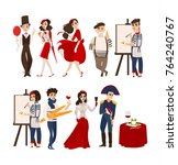 french characters  mimes ... | Shutterstock .eps vector #764240767