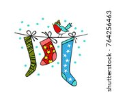 christmas socks. bullfinch.... | Shutterstock .eps vector #764256463