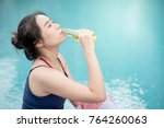 beautiful young asian happy... | Shutterstock . vector #764260063