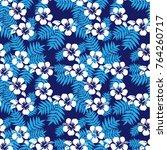 seamless vector hibiscus... | Shutterstock .eps vector #764260717