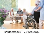 group of elderly people sitting ... | Shutterstock . vector #764263033