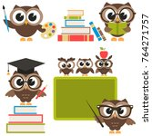 owls in the school isolated on... | Shutterstock . vector #764271757