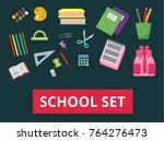 a set of school supplies. back... | Shutterstock .eps vector #764276473