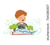 adorable toddler boy having fun ... | Shutterstock .eps vector #764280307