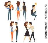 romantic dinner dating couples... | Shutterstock .eps vector #764280373
