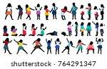 silhouettes of children ... | Shutterstock .eps vector #764291347