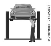 car on the lift single icon in... | Shutterstock .eps vector #764292817
