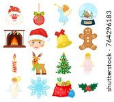 christmas attributes and... | Shutterstock .eps vector #764296183