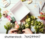 box with flowers and macaroons | Shutterstock . vector #764299447