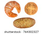 cereal bread isolated on white... | Shutterstock . vector #764302327
