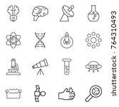 thin line icon set   bulb brain ... | Shutterstock .eps vector #764310493