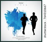 silhouette of marathon runner | Shutterstock .eps vector #764310667