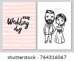 wedding couple cards. hipster... | Shutterstock .eps vector #764316067