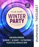disco dance flyer poster... | Shutterstock .eps vector #764316817