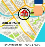 search house on the map banner... | Shutterstock .eps vector #764317693