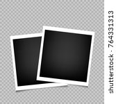 two photo frames with shadow on ... | Shutterstock .eps vector #764331313