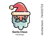 santa claus flat vector... | Shutterstock .eps vector #764332723