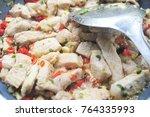 stir fry pork with pepper... | Shutterstock . vector #764335993
