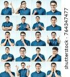 set of young man's portraits... | Shutterstock . vector #764347477