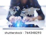 social network and global... | Shutterstock . vector #764348293