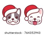 french bulldog puppy faces in... | Shutterstock .eps vector #764352943