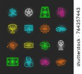 soccer neon icon set  vector... | Shutterstock .eps vector #764357443