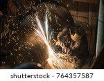 pipe welding on the pipeline... | Shutterstock . vector #764357587