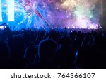colorful fireworks and crowd