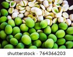 lotus seeds  green and white... | Shutterstock . vector #764366203