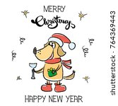 cute happy new year winter card ... | Shutterstock .eps vector #764369443