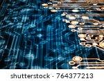 3d rendering. golden circuit... | Shutterstock . vector #764377213