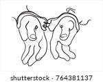 line art illustration of... | Shutterstock .eps vector #764381137