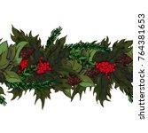 hand drawn lively garland... | Shutterstock .eps vector #764381653