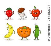cartoon funny vegetable and... | Shutterstock .eps vector #764383177