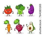 cartoon funny vegetable... | Shutterstock .eps vector #764383183