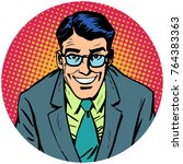 smiling man with glasses. round ... | Shutterstock . vector #764383363